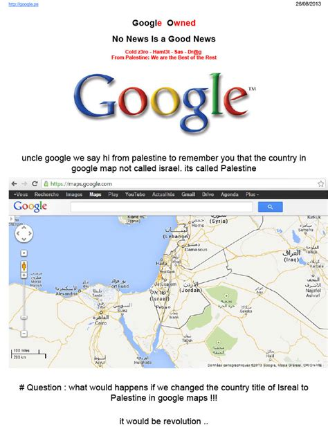 israel google google palestine defaced because palestine is shown as