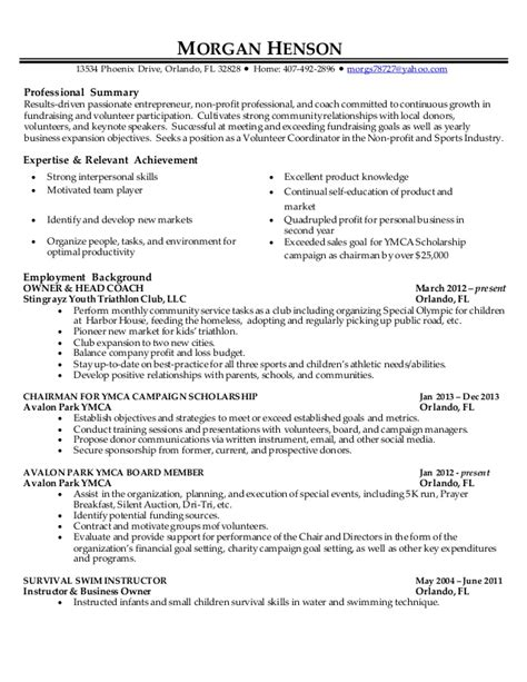 volunteer coordinator resume sle henson volunteer coordinator resume