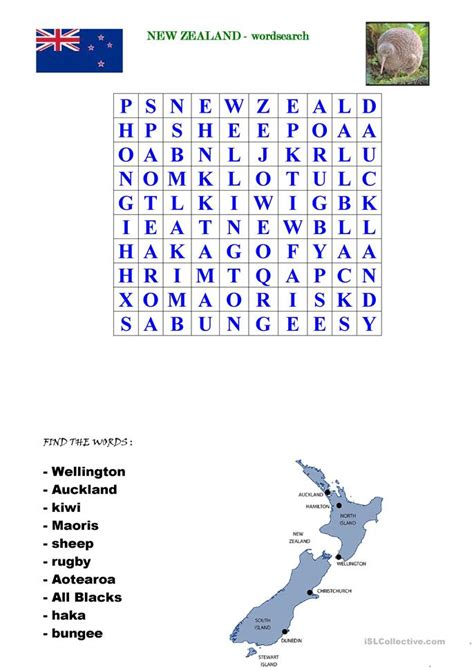 New Zealand Search New Zealand Wordsearch Worksheet Free Esl Printable Worksheets Made By Teachers