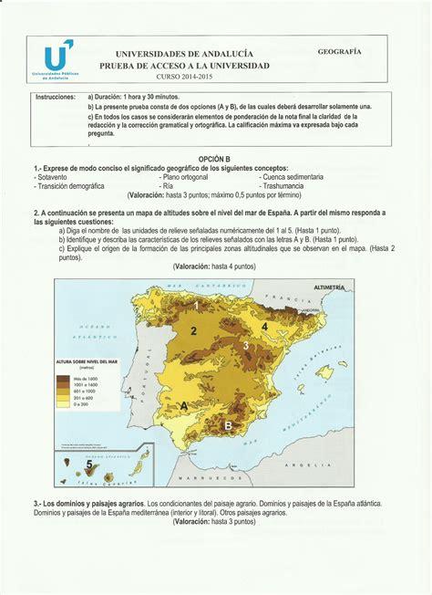 preguntas geografia selectividad historiaelpalo examen pau geograf 237 a de espa 241 a andaluc 237 a