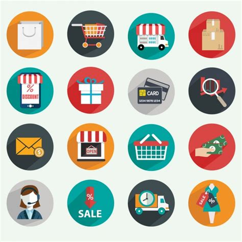 e commercio e commerce icons vector free