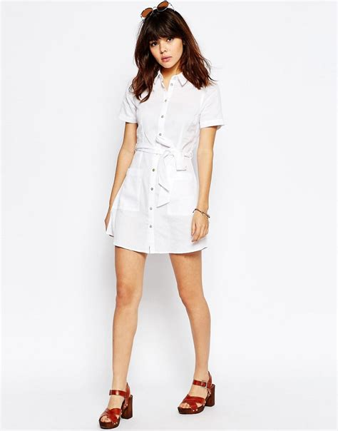 Dress Boxy Line Shirt 1 asos linen shirt dress in white lyst