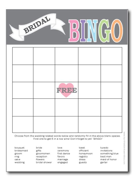 Blank Bingo Card Template For Bridal Shower by Printable Bridal Shower Bingo Cards Print From Home