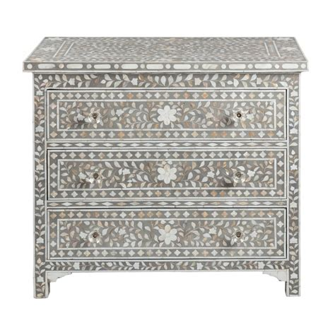 shalimar of pearl inlay 3 drawer chest floral grey