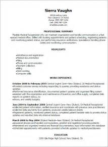 receptionist resume exles professional receptionist resume templates to