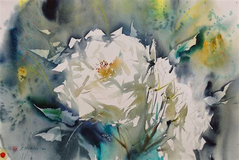 Painting White of watercolor white flowers