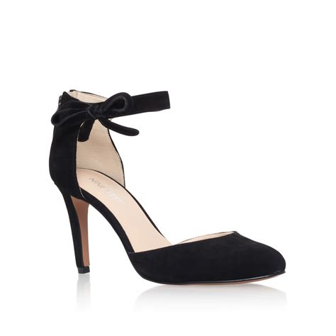 high heel shoes with ankle straps nine west howley ankle high heel sandals in black lyst