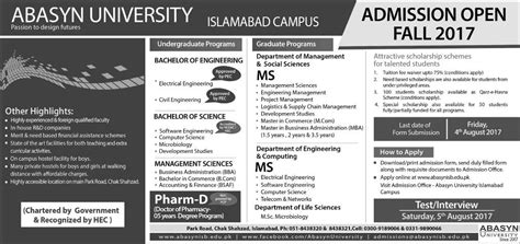 Mba Admission In Islamabad 2017 by Abasyn Islamabad Cus Admission 2018