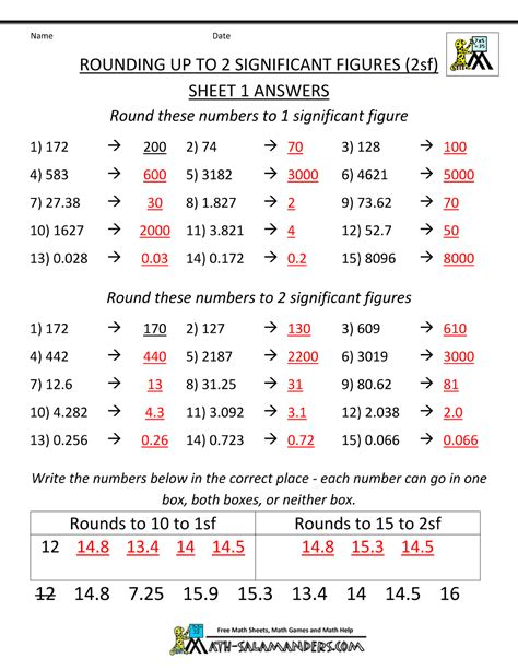 practice worksheet for significant figures rounding significant figures