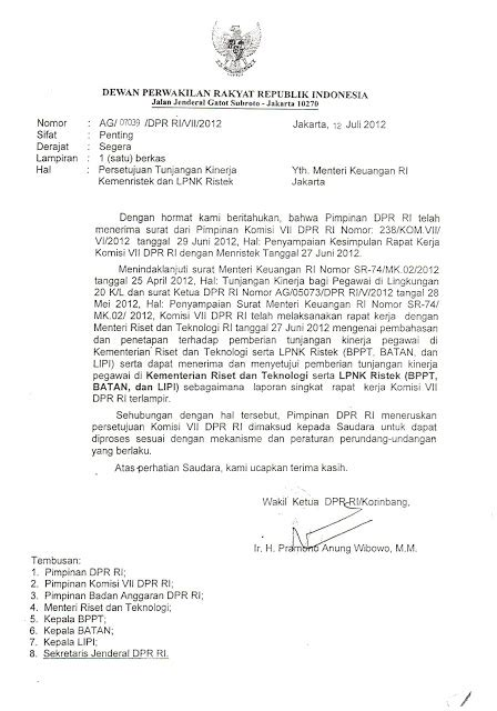 for sciences surat resmi persetujuan dpr tunjangan