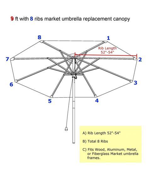 2.7m Umbrella Replacement Canopy 8 Ribs in Orange Canopy