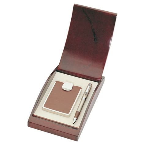 Gift Box Card Holder - personalized brown leather business card holder with pen