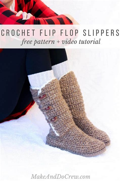 free button boats pattern ugg crochet sweater boots with flip flop soles free