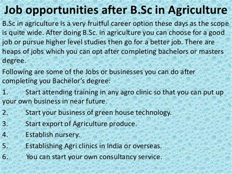 Scope After Mba In Agriculture by Opportunities After B Sc In Agriculture