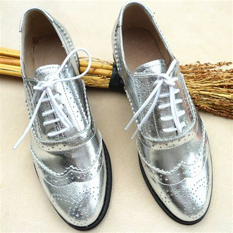 womens silver oxford shoes new brand silver shoes grain leather lace up