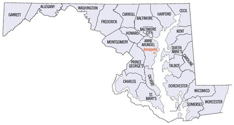 maryland map and counties list of counties in maryland