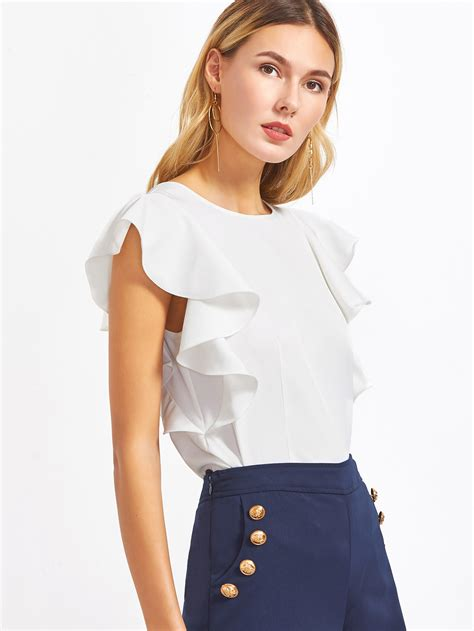 ruffle trim sleeve top white ruffle sleeve topfor romwe