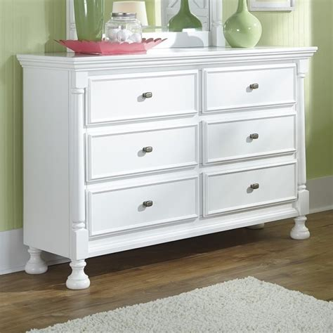 Wood And White Dresser Kaslyn 6 Drawer Wood Dresser In White B502 21
