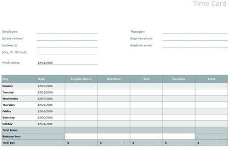Timesheet Template Timesheet Excel Templates Time Card Spreadsheet Template Free