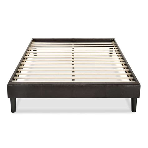 Bed Frame With Slats Full Size Modern Espresso Faux Leather Platform Bed Frame