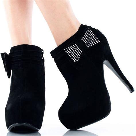 black suede rhinestone bow stiletto high heel platform