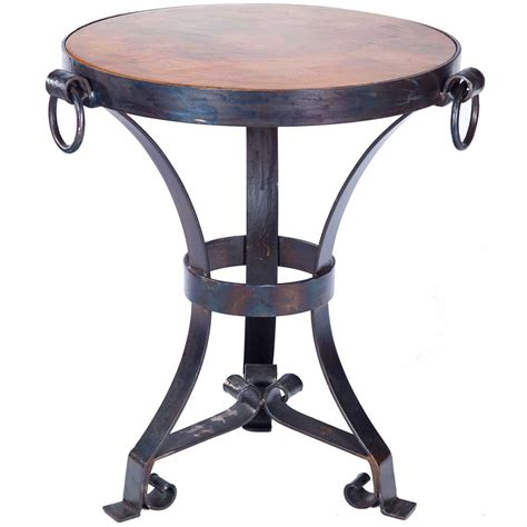 copper accent table pictured here is the rutland accent table hammered copper table topwith wrought iron base and