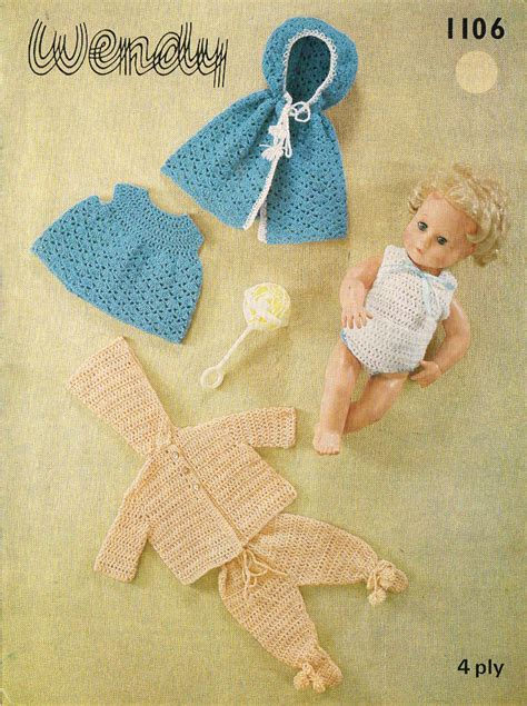 doll clothes pattern pdf 14 inch baby dolls clothes crochet pattern vintage copy pdf