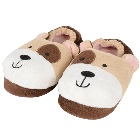 cute house shoes childrens plush padded slippers puppy dog cute zebra uk kids 9 3 girls cozeetoes