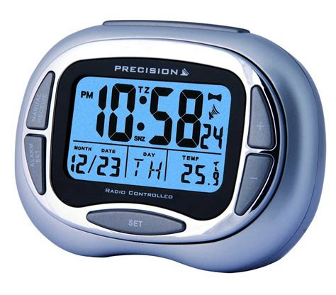 precision radio controlled alarm clock with day date month temp blue prec0100 ebay