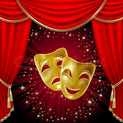 Red Theatre Curtains Quot Theatrical Mask On A Red Background Mesh Clipping Mask