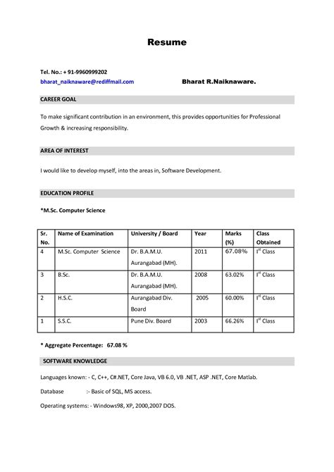 Resume Format For Bsc Computer Science Freshers Free Resume Format For Be Freshers It Resume Cover Letter Sle
