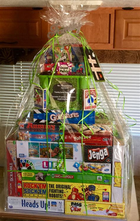 ideas for family fun night gift basket family game night