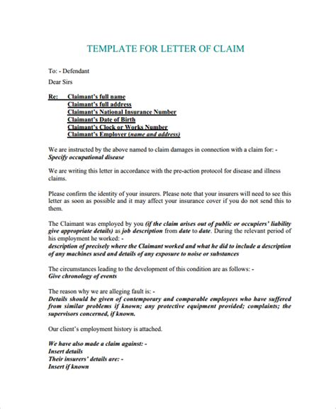 Letter Format To Health Insurance Company For Claim Insurance Claim Letter Sle Docoments Ojazlink