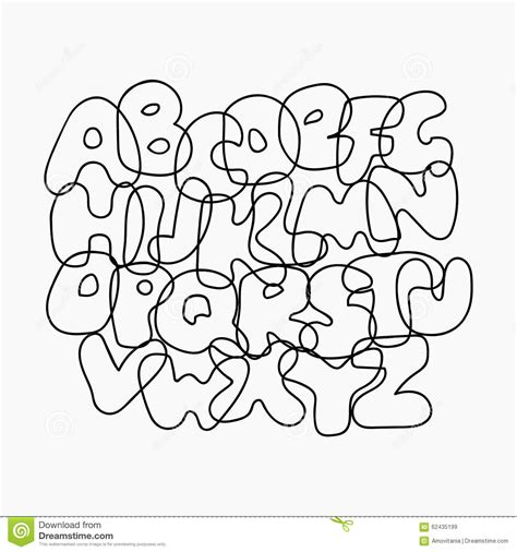 White Outline Font by Wire Alphabet Stock Vector Image 62435199