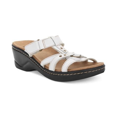 clark shoes sandals clarks womens shoes sandals in white lyst