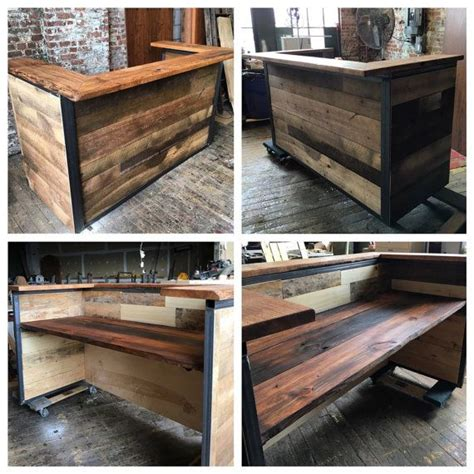 reclaimed wood front desk 25 best ideas about salon reception desk on