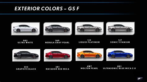 obsidian color chart lexus gs f color chart