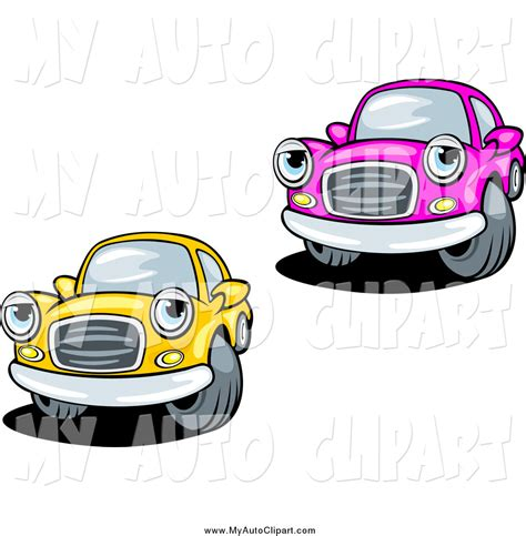 cars characters yellow clip art of a pink and yellow car characters by vector