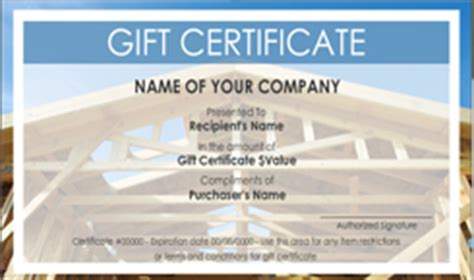 house cleaning gift certificate template roofing contractor gift certificate templates easy to
