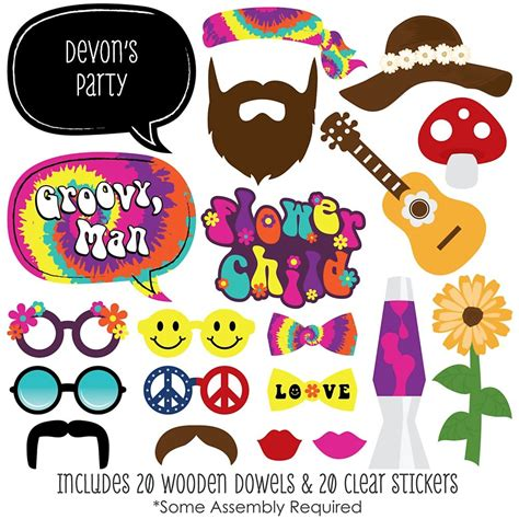 free printable hippie photo booth props 60 s hippie 20 piece photo booth props kit