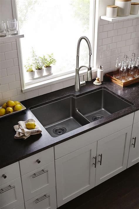 quartz undermount kitchen sinks gourmet quartz classic double bowl undermount