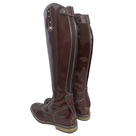 comfort riding boots crystal patent leather look showing jumping comfort tall