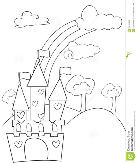 rainbow castle coloring page coloring pages of rainbows and hearts coloring page