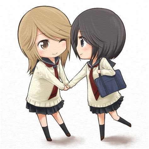 chibi girls 2 a 2girls chibi friends manga holding hands kumakura mariko oohashi akiko wink yuri found on