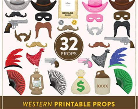 wild west printable photo booth props cowboy photo prop etsy
