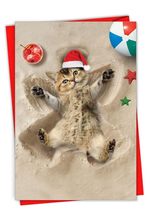 holiday sand angels cat creative merry christmas greeting card
