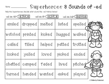 3 sounds of ed worksheet superheroes 3 sounds of ed worksheet suffix ed practice tpt