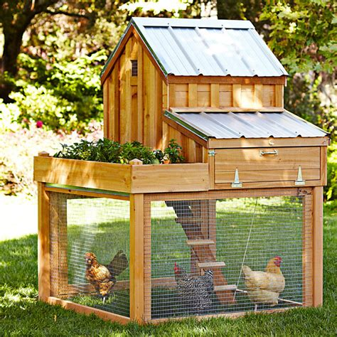 Cedar Chicken Coop Run With Planter by Cedar Chicken Coop And Run With Garden Planter The Green