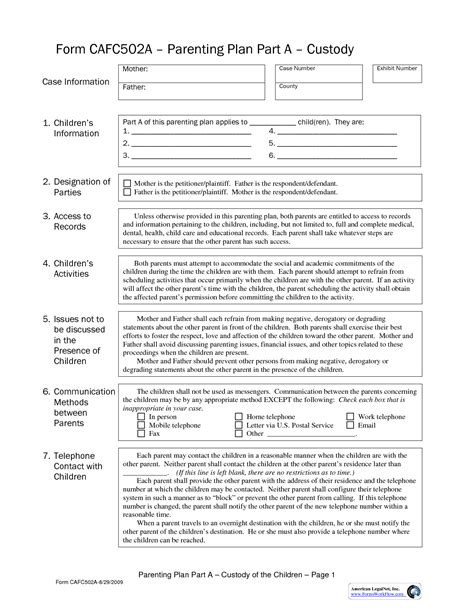parenting plan template california parenting plan template california choice image template