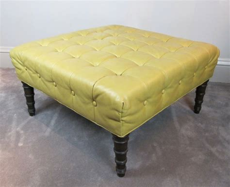 Yellow Leather Chair With Ottoman Design Ideas Diy Vintage Ottoman With Yellow Leather Top And Wooden Legs For Living Room With Gray Carpet Tiles